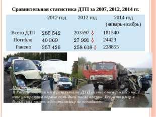 Сравнительная статистика ДТП за 2007, 2012, 2014 гг. Примечание: В России пог