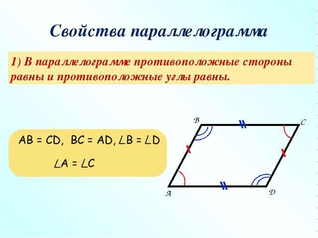 Свойства параллелограмма 1) В параллелограмме противоположные стороны равны и...