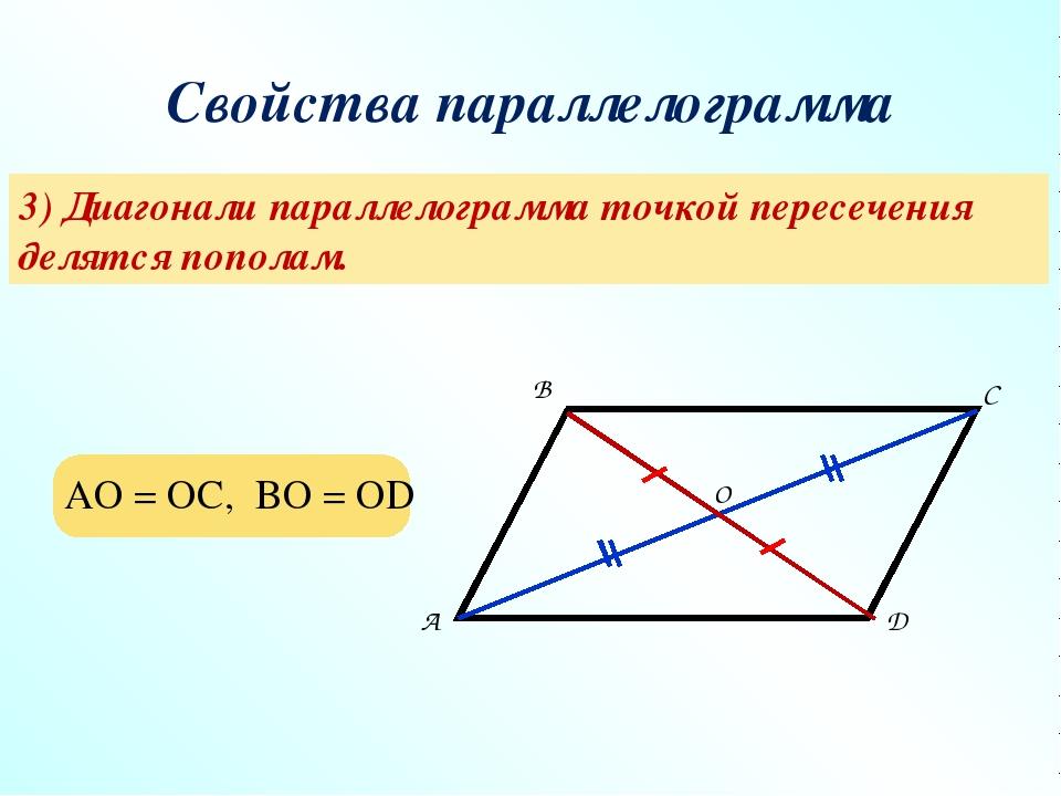 Свойства параллелограмма 3) Диагонали параллелограмма точкой пересечения деля...