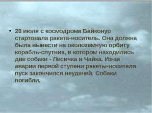 28 июля с космодрома Байконур стартовала ракета-носитель. Она должна была выв