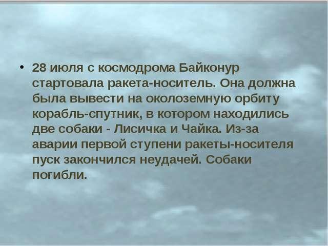 28 июля с космодрома Байконур стартовала ракета-носитель. Она должна была выв...