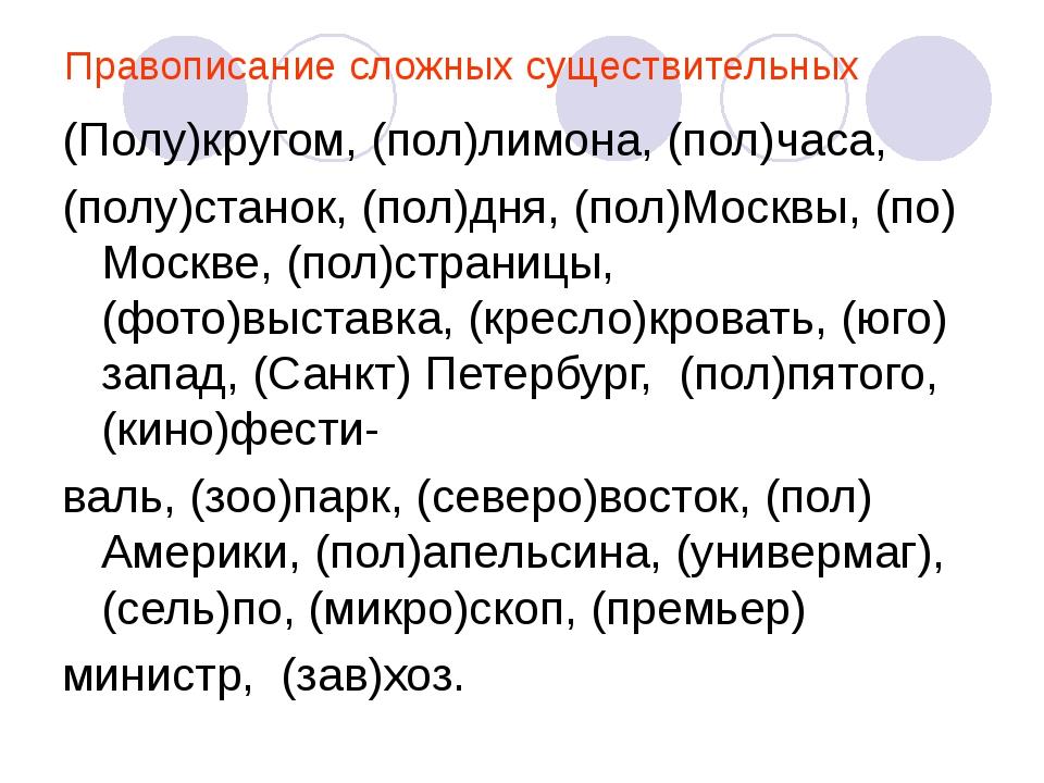Правописание сложных существительных (Полу)кругом, (пол)лимона, (пол)часа, (п...