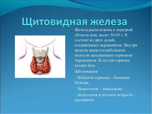 Железа расположена в передней области шее, весит 30-60 г. И состоит из двух д...