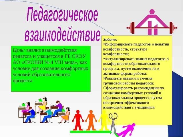 Цель: анализ взаимодействия педагога и учащегося в ГБ СКОУ АО «СКОШИ № 4 VIII...