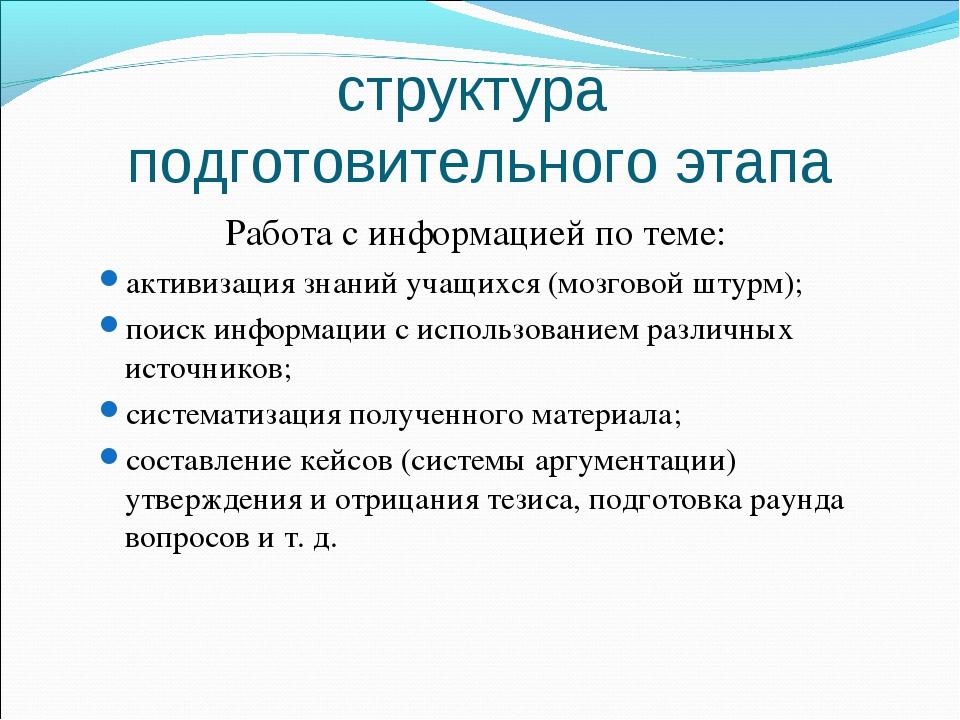 структура подготовительного этапа Работа с информацией по теме: активизация з...