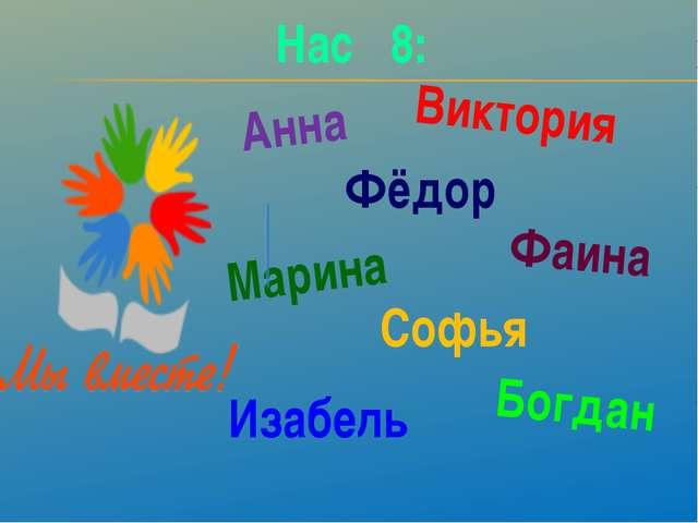 Фёдор Анна Виктория Фаина Марина Софья Изабель Богдан Нас 8: