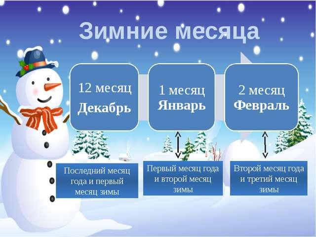 Зимние месяца Последний месяц года и первый месяц зимы Первый месяц года и вт...