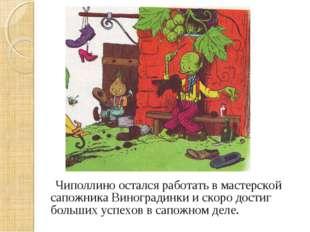 Чиполлино остался работать в мастерской сапожника Виноградинки и скоро дости