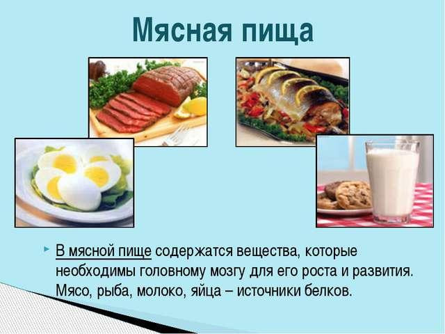 В мясной пище содержатся вещества, которые необходимы головному мозгу для его...