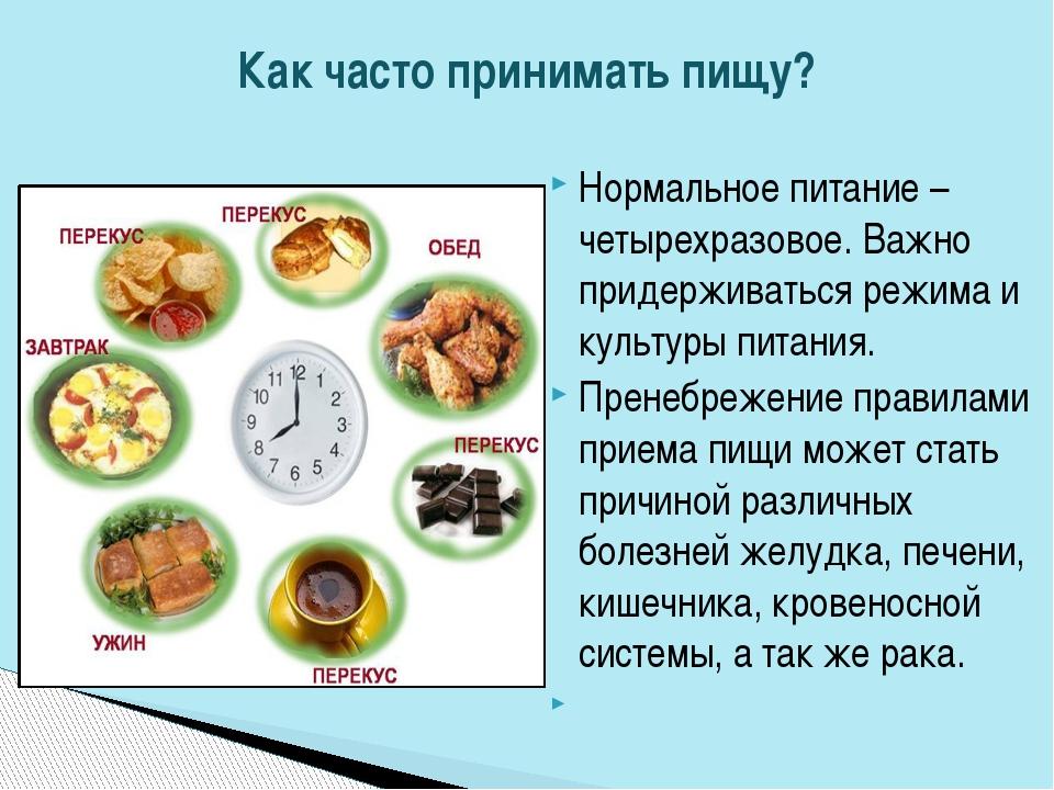 Нормальное питание – четырехразовое. Важно придерживаться режима и культуры п...