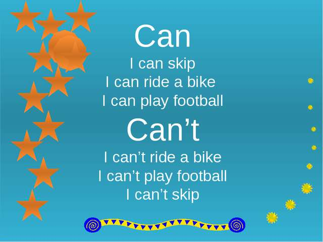 Can I can skip I can ride a bike I can play football Can't I can't ride a bi...