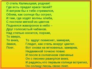 О степь Калмыцкая, родная! Где есть предел красе твоей? Я ветром бы к тебе с