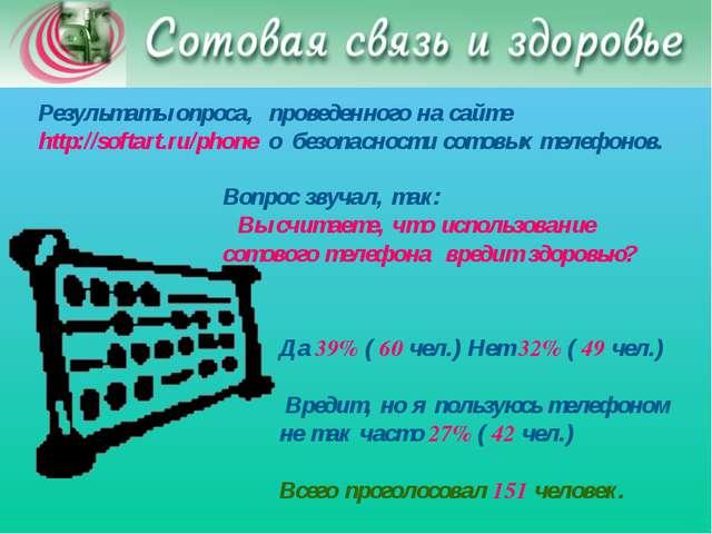 Результаты опроса, проведенного на сайте http://softart.ru/phone о безопасно...