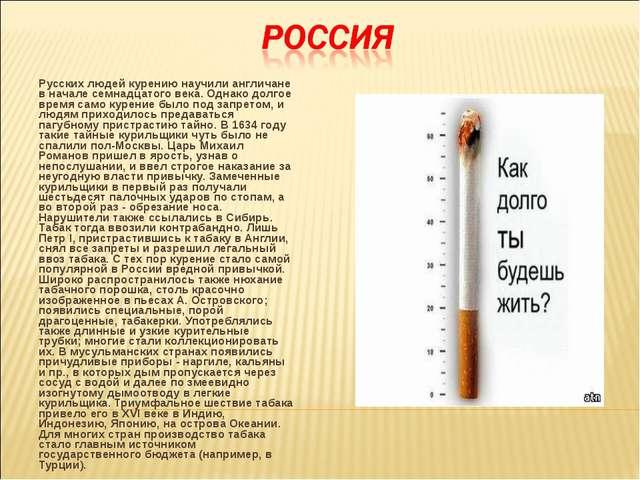 Русских людей курению научили англичане в начале семнадцатого века. Однако до...