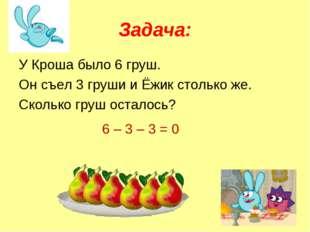 Задача: У Кроша было 6 груш. Он съел 3 груши и Ёжик столько же. Сколько груш