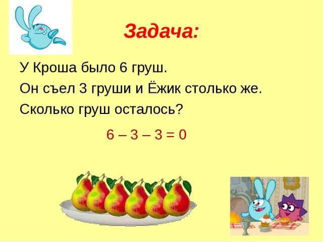Задача: У Кроша было 6 груш. Он съел 3 груши и Ёжик столько же. Сколько груш...