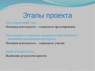 Этапы проекта Проектировочный этап. Основная деятельность – социальное проект