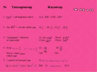 №ТапсырмаларЖауаптар 1 қай ширекке тиістіА) I, B)II , C)III , D)IV