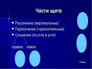 Части щита Рассечение (вертикальные) Пересечение (горизонтальные) Скошение (и