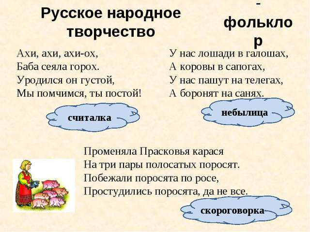 Русское народное творчество фольклор Ахи, ахи, ахи-ох, Баба сеяла горох. Урод...