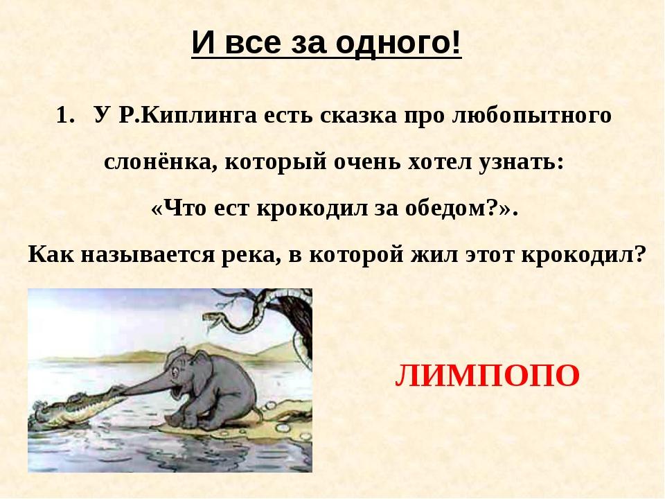 И все за одного! У Р.Киплинга есть сказка про любопытного слонёнка, который о...