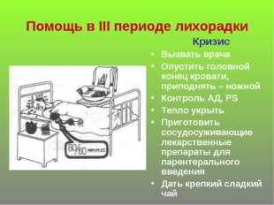 Помощь в III периоде лихорадки Кризис Вызвать врача Опустить головной конец к