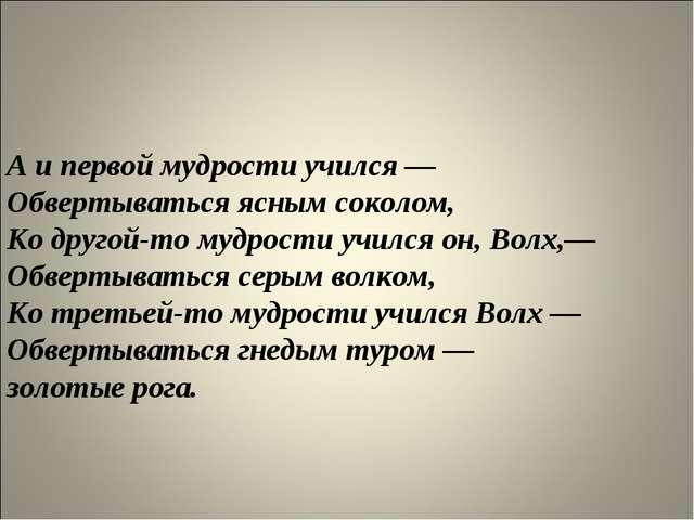 А и первой мудрости учился — Обвертываться ясным соколом, Ко другой-то мудр...