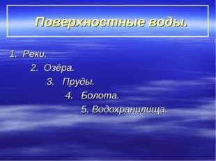 Поверхностные воды. 1. Реки. 2. Озёра. 3. Пруды. 4. Болота. 5. Водохранилища.