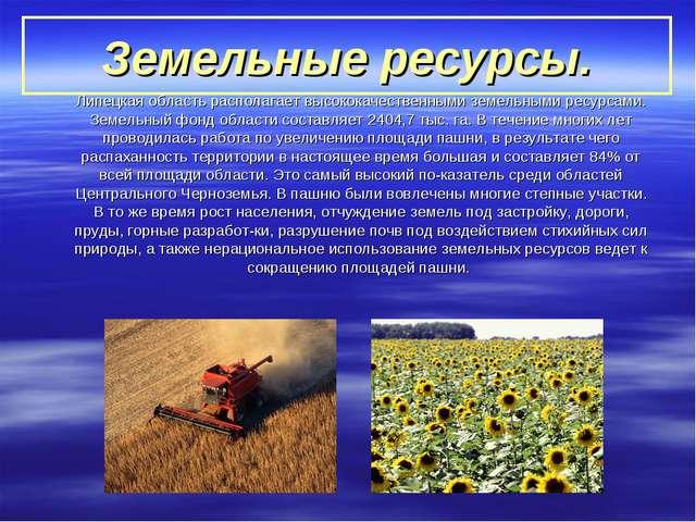 Земельные ресурсы. Липецкая область располагает высококачественными земельны...