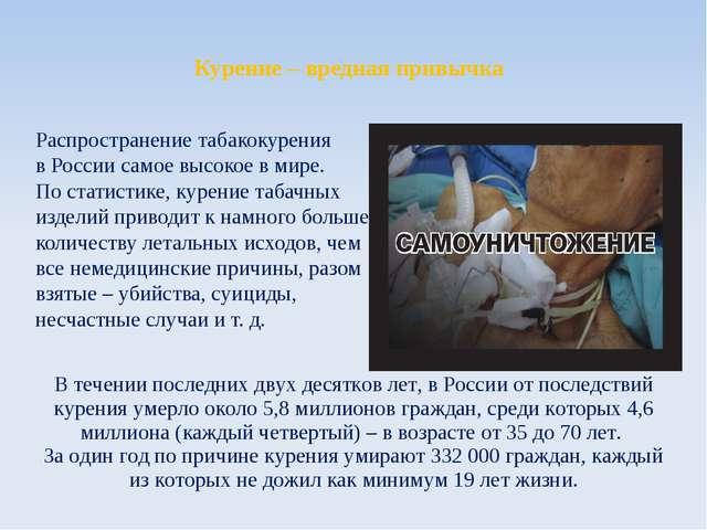 Курение – вредная привычка Распространение табакокурения в России самое высок...