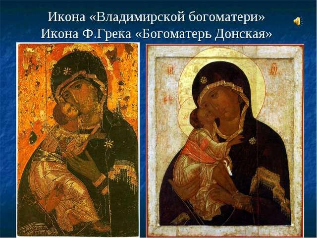 Икона «Владимирской богоматери» Икона Ф.Грека «Богоматерь Донская»
