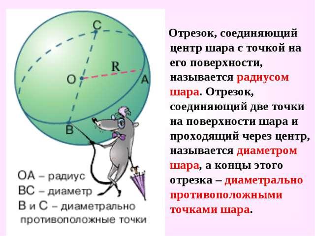 Отрезок, соединяющий центр шара с точкой на его поверхности, называется ради...