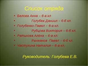 Список отряда Белова Анна – 6-а кл Голубев Даниил – 6-б кл. Голубенко Павел –