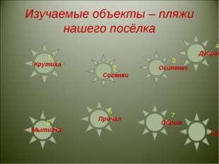 Изучаемые объекты – пляжи нашего посёлка 1 Крутиха 2 Сосенки 3 Осипенко 4 Дуб