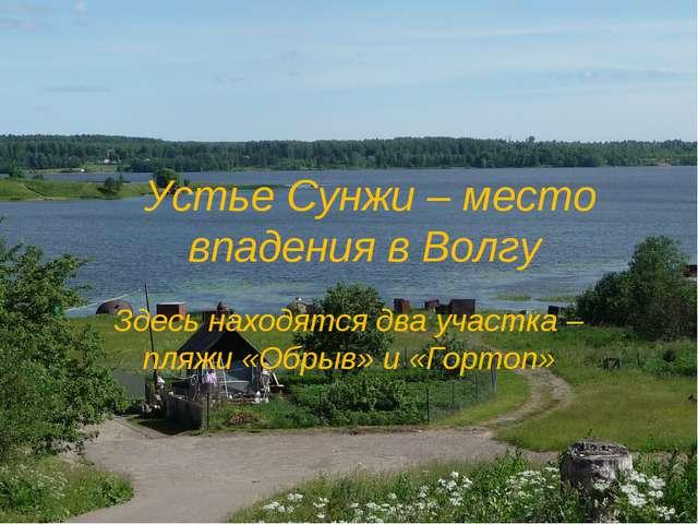 Устье Сунжи – место впадения в Волгу Здесь находятся два участка – пляжи «Об...