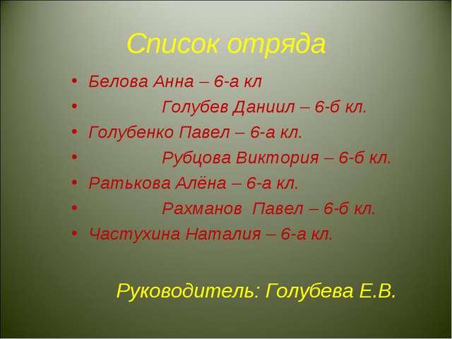Список отряда Белова Анна – 6-а кл Голубев Даниил – 6-б кл. Голубенко Павел –...