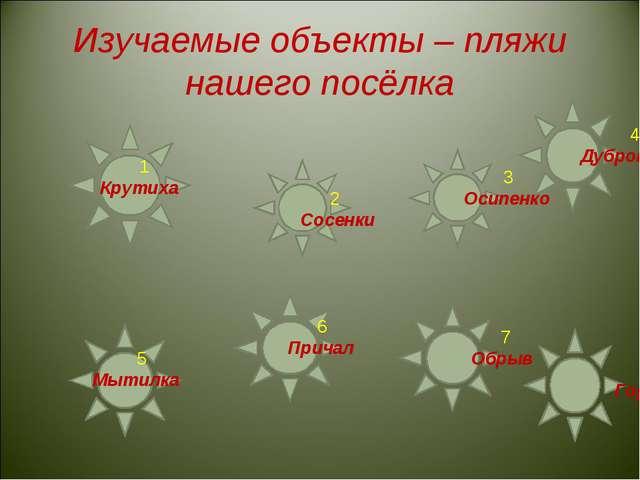 Изучаемые объекты – пляжи нашего посёлка 1 Крутиха 2 Сосенки 3 Осипенко 4 Дуб...