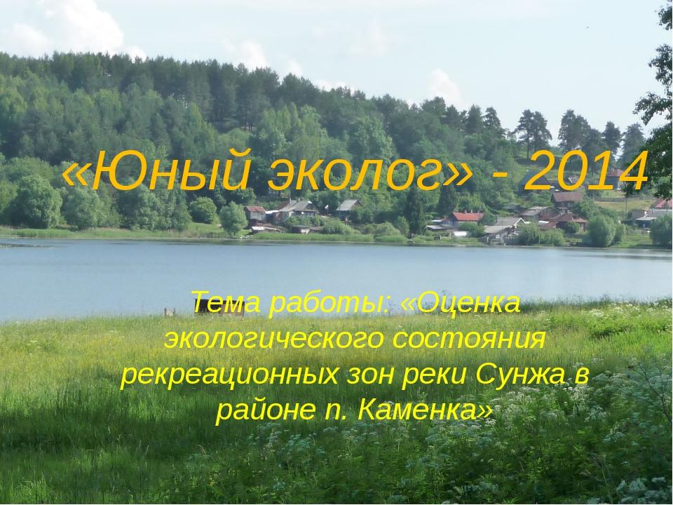 «Юный эколог» - 2014 Тема работы: «Оценка экологического состояния рекреацион...