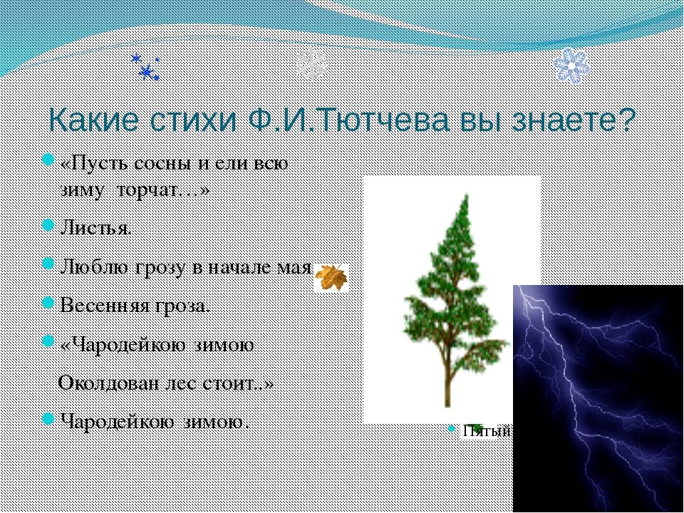 Какие стихи Ф.И.Тютчева вы знаете? «Пусть сосны и ели всю зиму торчат…» Листь...