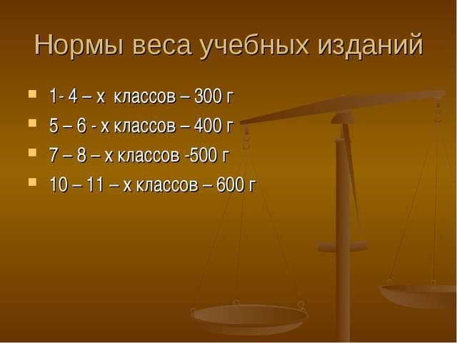 Нормы веса учебных изданий 1- 4 – х классов – 300 г 5 – 6 - х классов – 400 г...