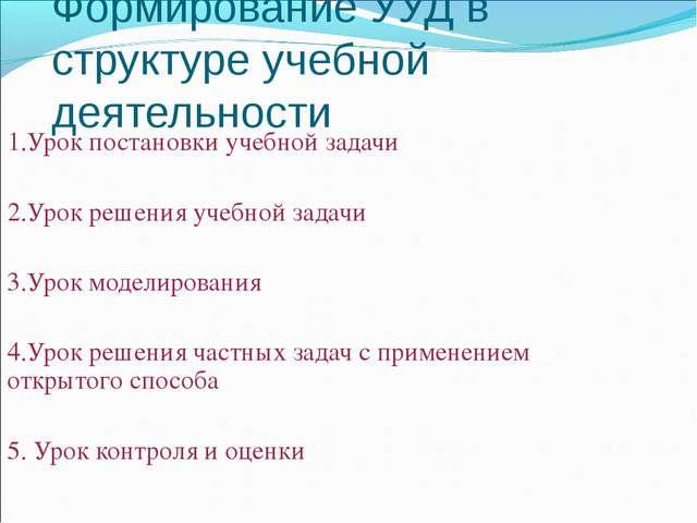 Формирование УУД в структуре учебной деятельности 1.Урок постановки учебной з...