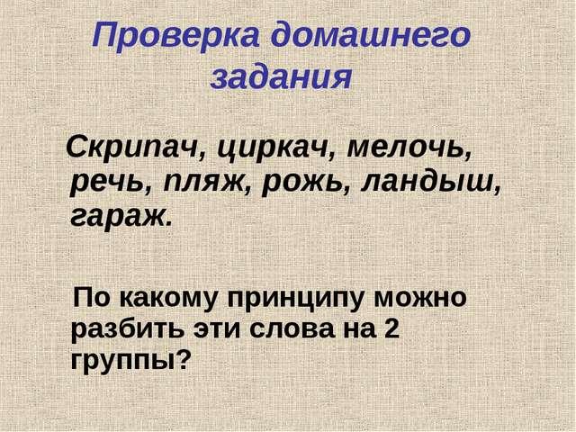 Проверка домашнего задания Скрипач, циркач, мелочь, речь, пляж, рожь, ландыш,...