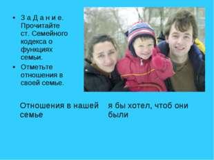 З а Д а н и е. Прочитайте ст. Семейного кодекса о функциях семьи. Отметьте от