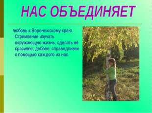 любовь к Воронежскому краю. Стремление изучать окружающую жизнь, сделать её
