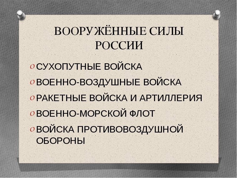 ВООРУЖЁННЫЕ СИЛЫ РОССИИ СУХОПУТНЫЕ ВОЙСКА ВОЕННО-ВОЗДУШНЫЕ ВОЙСКА РАКЕТНЫЕ ВО...