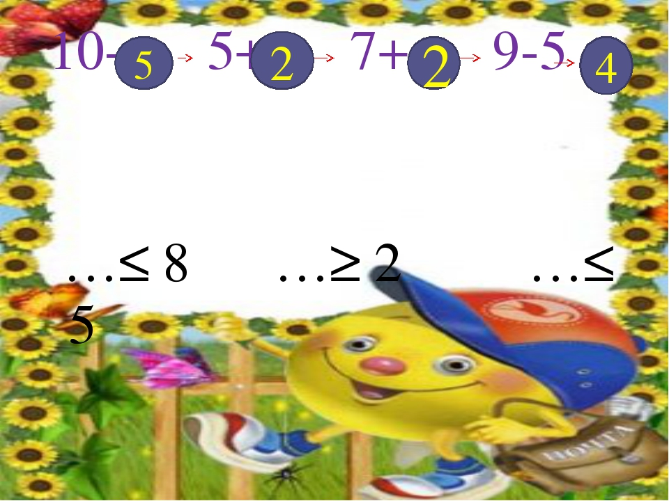 10- 5+ 7+ 9-5 …≤ 8 …≥ 2 …≤ 5 5 2 2 4