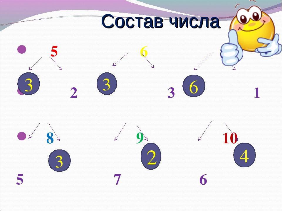 5 6 7 2 3 1 8 9 10 5 7 6 Состав числа 3 3 6 3 2 4
