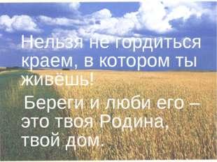 Нельзя не гордиться краем, в котором ты живёшь! Береги и люби его – это твоя
