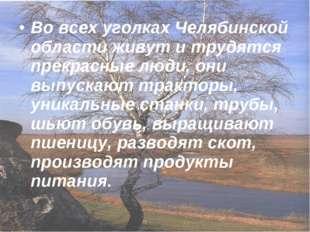 Во всех уголках Челябинской области живут и трудятся прекрасные люди, они вып