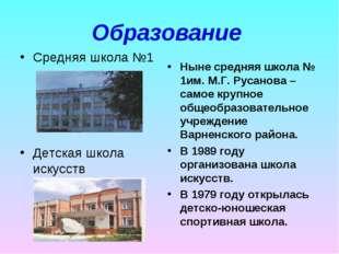 Образование Средняя школа №1 Детская школа искусств Ныне средняя школа № 1им.